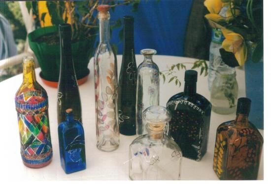 bouteilles peintes